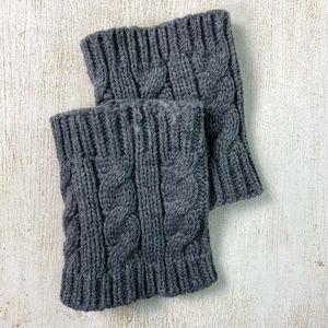 """womens BOOT gray knit CUFFS short 5"""""""